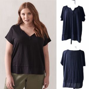 Black Linen Top with Bottom Contrast Panel
